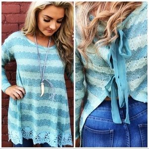 "A'reve Mint ""Endless Journey"" Open Back Knit Top M"
